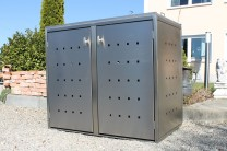 Mülltonnenbox Kombi aus Edelstahl 2x 120 / 240 Liter