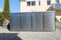 Mülltonnenbox Kombi aus Edelstahl 4x 120 / 240 Liter