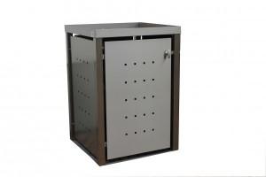 Mülltonnenbox aus Edelstahl mit Vierkantpfosten 1x 240 Liter