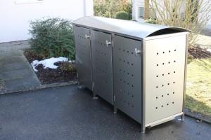 Mülltonnenbox aus Edelstahl mit Runddach 3x 120 Liter