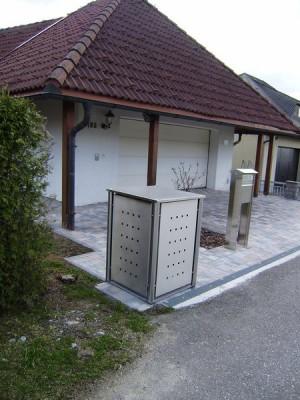 Mülltonnenbox aus Edelstahl 1x 240 Liter