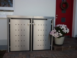 Mülltonnenbox aus Edelstahl 2x 120 Liter