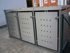 Mülltonnenbox aus Edelstahl 3x 120 Liter