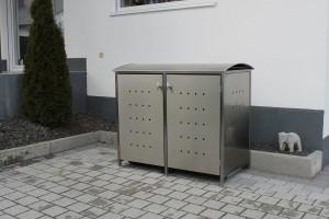 Mülltonnenbox aus Edelstahl mit Runddach 2x 120 Liter